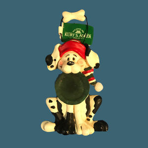 KURT S ADLER Dog With Plate Ornament Christmas